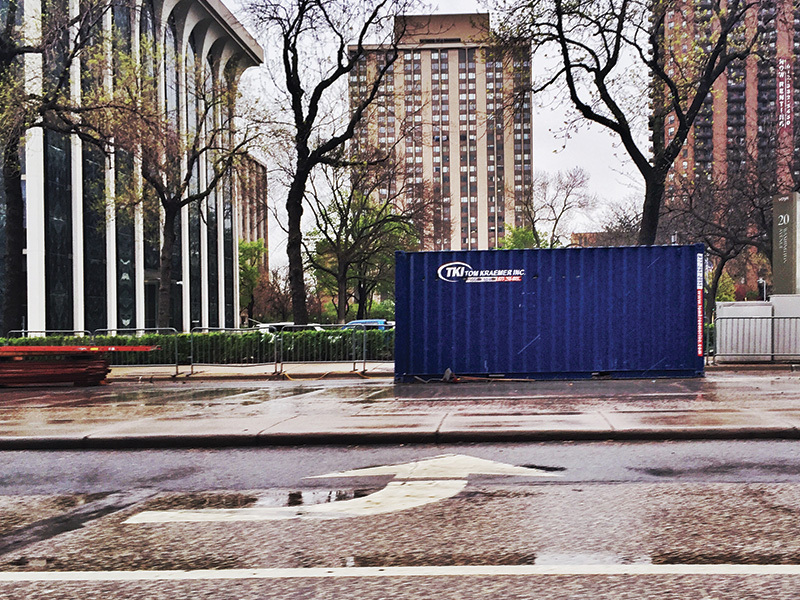TKI Portable Storage Container in the rain