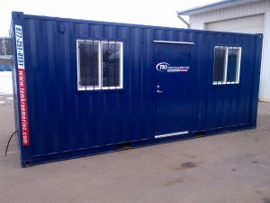 Exterior of storage container with windows