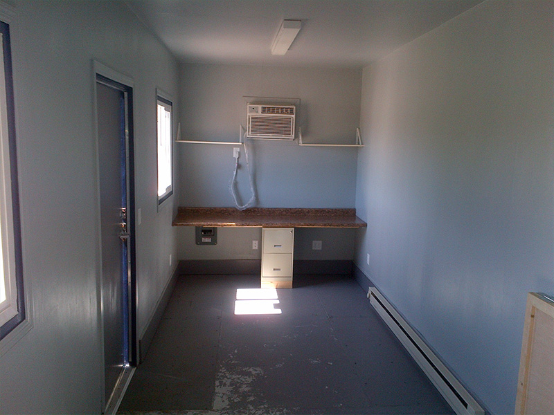 Storage unit with desks and AC